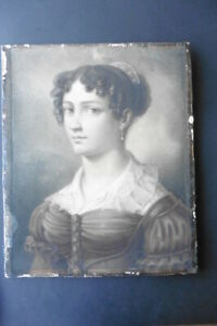 FRENCH SCHOOL CA. 1825 - STUNNING PORTRAIT OF A LADY - CHARCOAL-WATERCOLOR