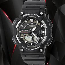Casio AEQ-110W-1A Mens Black 100M World Time Digital Watch Analog Sports New