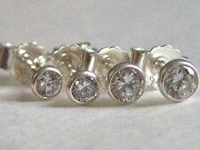 Set 2 Paar Ohrstecker 925 Sterling Silber Zirkonia 3+3,5mm Weiß Ohrringe Unisex