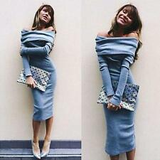 Women Blue Stetch Bodycon Off Shoulder Long Sleeve Evening Party Long Dress XL