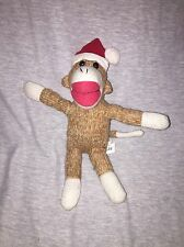 """Galerie Christmas Holiday Sock Monkey plush 8"""" Light Brown with Santa hat"""