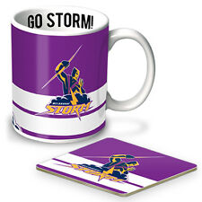 NRL Melbourne Storm MUG CUP AND COASTER PACK Christmas Fathers Man Cave Gift