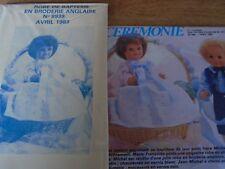 """T2 PATRON POUPEE """"BAIGNEUR  MICHEL"""" M ET TRAVAUX"""" ROBE DE BAPTEME BRODERIE1983"""
