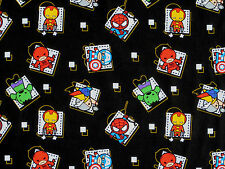 "12"" REMNANT MARVEL KAWAII AVENGER CHARACTERS SUPERHEROS BADGE 100% COTTON FABRIC"