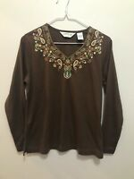 Orvis Women's Top Brown Paisley Embroidered Neck Long Sleeve Size Small V Neck