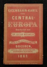 OLD RAILWAY EISEBAHN ROAD TRAIN MAP KARTE VON CENTRAL EUROPA DRESDEN 1862!!!