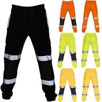 Hi Vis Viz Visibility Jogging Bottoms Joggers Sweat Pants Safety Trousers S-3XL