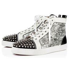 Christian Louboutin Mens Lou Spikes Flat Black White Silver High Top Sneaker 39
