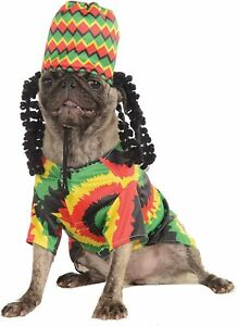 Rasta Dog Costume - LARGE - Jamaican - Shirt & Hat w/ Dreads Wig - Rubie's - NWT