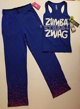 Zumba Fitness * 2 * Tri-me jammin Jersey Pants & Street zwag Racerback Set blau XS