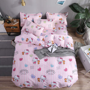 Hello Kitty Cat Cartoon Kid's Comforter Cover Flat Sheet Pillowcases Bedding Set