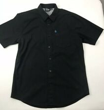 Volcom Black Shirt Button Up Short Sleeve Skater Junior Boys M Medium