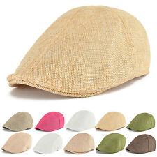 Mens Womens Summer Breathable Cotton Beret Newsboy Cap Cabbie Flat Gatsby Hat