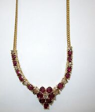 14KT Yellow Gold Handcrafted Diamond & Ruby Necklace 7.85CT