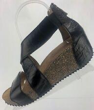 Josef Seibel Wedge Sandals - Meike 05 Open Toe Gladiator Platform Womens 7 Black