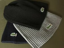 Lacoste Men's Green Croc Ribbed Wool Knit Beanie Hat Cap