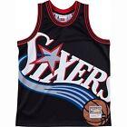 Mitchell  Ness Men NBA Philadelphia 76ers Big Face Black Basketball Jersey New