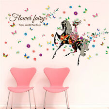 Riding Horse Elf Girl Home Room Decor Removable Wall Stickers Decal Decoration