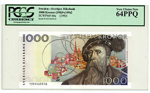 Sweden … P-60a … 1000 Kronor … 1991 … CH*UNC*  PCGS 64.  PPQ.