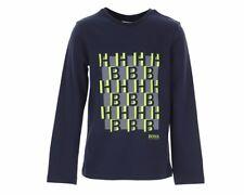 Hugo Boss Junior's J25G38 849 Long Sleeves Boys T-Shirt Navy Cotton Top