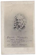 Old Lady Named Betty Morley(nee Sale) Died 1871 RP Postcard, Unused