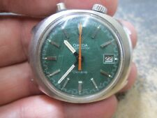 Omega CHRONOSTOP GREEN DIAL DRIVERS STAINLESS SCREW BACK MENS Running Wristwatch
