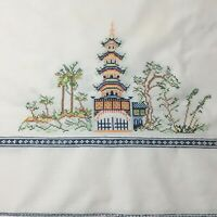 """Hand Embroidered Japanese Pagodas on Square Tablecloth. Measures 42"""" Square.A-21"""