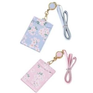 Cute Flowers PU Leather Bus ID Card Holder Case Badge Retractable Neck Lanyard