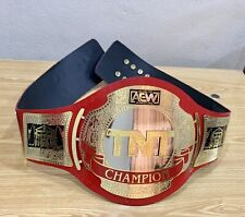 More details for new aew tnt championship title red leather replica belt  adult size 2 mm
