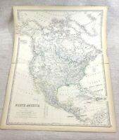 1861 Antique Map of North America The United States USA Hand Coloured Johnston