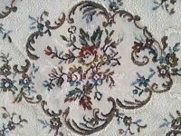 Vintage Fabric Brocade Tapestry 60's Salvage Remnant Material Doll Rug A38