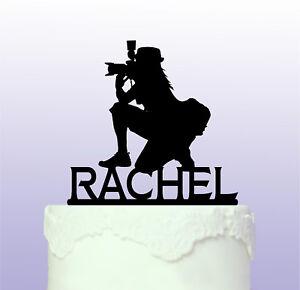 Personalised Female Photographer Acrylic Cake Topper - Camera