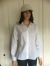 Savile Row White Cotton Shirt Size 8UK Round Collar Long Sleeve V Good Condition