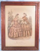 Antique Fashion Print Miroir des Modes Post Civil War Era Ladies Lithograph Nice