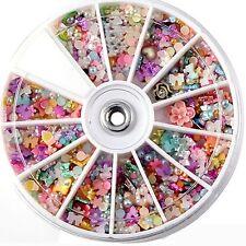 1 Wheel Mixed Nail Art Tips Glitters Rhinestones Decoration Manicure Beauty Tool