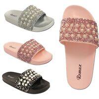 Ladies Womens beach holidays outdoor Sandals Pearl Glittery Sliders Slides Mule