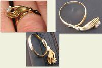750er Gelbgold Ring Hand mit Zirkonia   gut erhalten