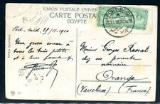 Egypte - Affranchissement de Port Saïd sur carte postale en 1910 pour la France