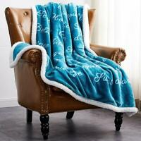 Soft Fuzzy Warm Cozy Throw Blanket with Sherpa Backing - 50 x 60 Double Side US