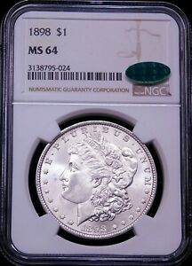 1898 P Morgan Silver Dollar NGC MS64 CAC Blast White Brilliant Luster PQ #G827