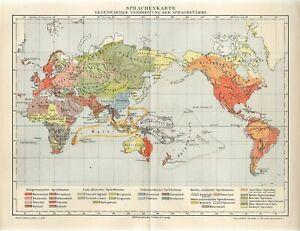 1895 WORLD PEOPLE LANGUAGES Antique Map
