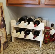 Solid Wood Modular STACKABLE WINE RACK 6 Bottle Counter-Top Compact Hand Made