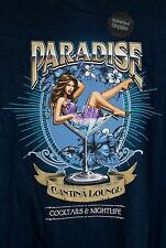 New PARADISE Cantina Lounge Cocktails Sexy Lady in Martini Glass Blue Shirt~4XL