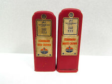 Vintage Standard Red White Crown Gas Pump Salt and Pepper Shakers Red Plastic