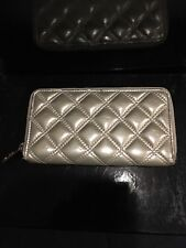 Marc Jacobs Metallic Gold Tone Quilted Leather Wallet