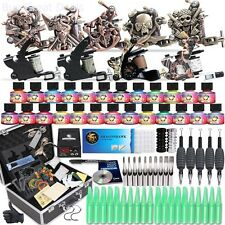 Complete Tattoo Starter Kit 9 Machine Gun Power Supply 50 Needles Ink Set D23