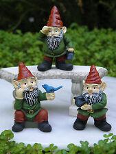 Miniature Dollhouse FAIRY GARDEN Accessories GNOME ~ Set / 3 Garden Gnomes ~ NEW