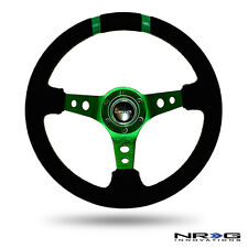"NRG Steering Wheel 350mm GREEN Spokes Finish & Black SUEDE 3"" Deep Dish w/ Horn"