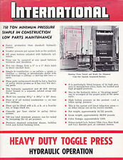 VINTAGE AD SHEET #3118 - 1968 INTERNATIONAL HEAVY DUTY TOGGLE PRESS