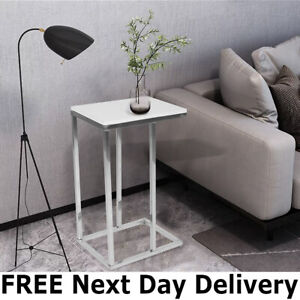 Coffee End Table Living Room/BedroomWhite High Gloss Sofa Side Table C Shaped